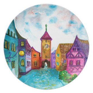Watercolor colorful european town illustration dinner plate