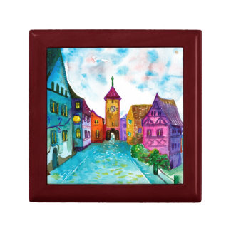 Watercolor colorful european town illustration keepsake box