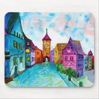 Watercolor colorful european town illustration mouse pad