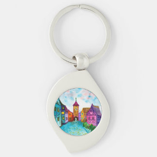 Watercolor colorful european town illustration Silver-Colored swirl keychain
