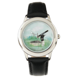 Watercolor Common Loon Bird Nature Art Watches