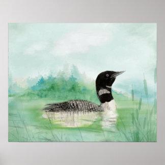 Watercolor Common Loon Wilderness Bird Art Poster