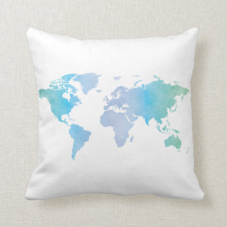 Watercolor Cool World Map Throw Pillow
