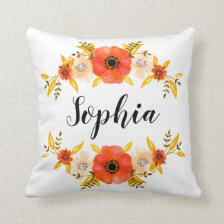 Watercolor Coral Floral Wreath Custom Name Throw Pillow