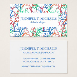 Watercolor Coral Pattern Business Card