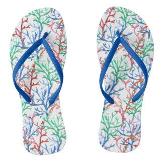 Watercolor Coral Pattern Flip Flops
