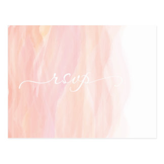 Watercolor Coral Pink Orange Ombre RSVP card Postcard