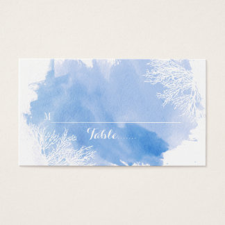 Watercolor coral reef blue place card