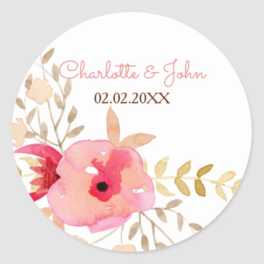 Watercolor Coral Roses flowers Wedding stickers