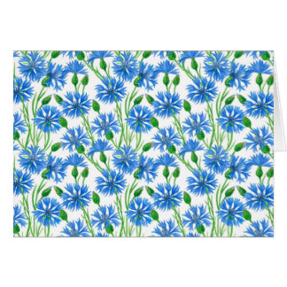Watercolor cornflower pattern card