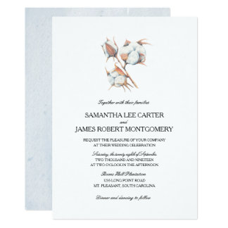 Watercolor Cotton Boll Plant  | Wedding Card