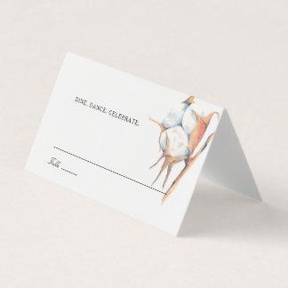 Watercolor Cotton Boll Wedding Escort Place Card