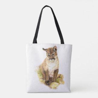 Watercolor Cougar Puma Cub Animal Nature art Tote Bag