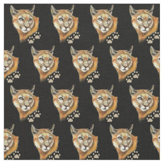 Watercolor Cougar Tracks Wild Animal Nature Art Fabric