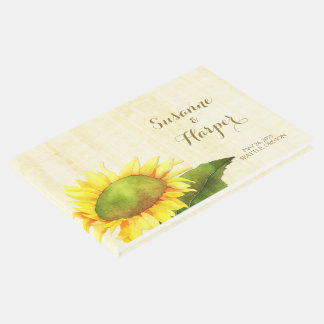 Watercolor Country Sunflower Wedding Guest Book