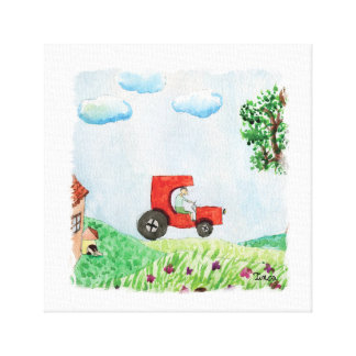 Watercolor Countryside View with Car Canvas Wall