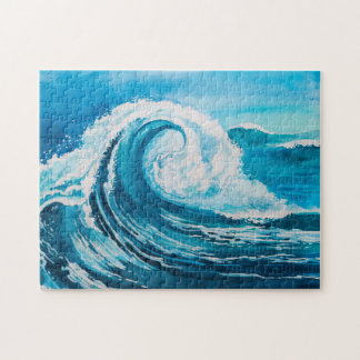 Watercolor Crashing Wave 11x14 Jigsaw Puzzle