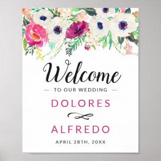 Watercolor Cream Purple Floral Spring Wedding Sign