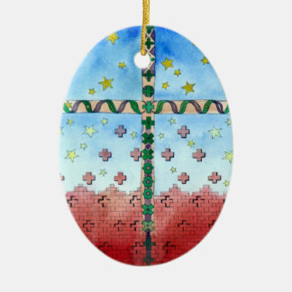 Watercolor Cross Christmas Ornament