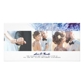 Watercolor Crystal Indigo Modern Wedding Thank You Photo Card