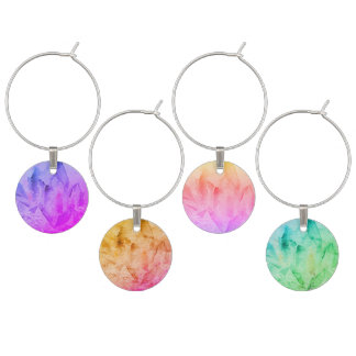 *~* Watercolor Crystal Multi Color Vibration Wine Charm