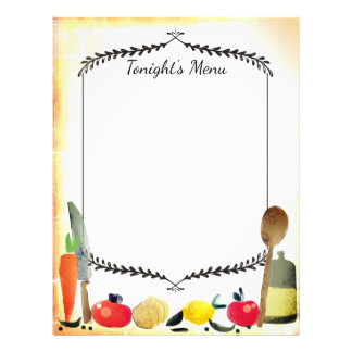 Watercolor culinary dinner party menu letterhead