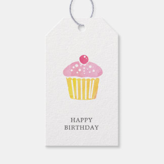 Watercolor Cupcake Birthday Present Gift Tag