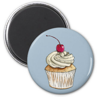 Watercolor Cupcake with Whipped Cream and Cherry 2 Inch Round Magnet