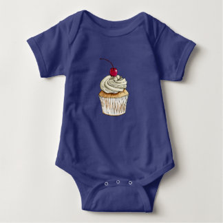 Watercolor Cupcake with Whipped Cream and Cherry Baby Bodysuit