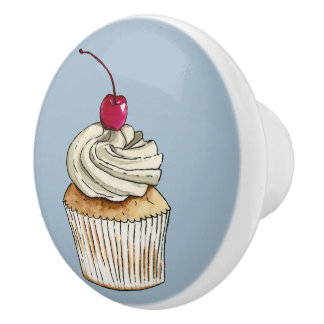 Watercolor Cupcake with Whipped Cream and Cherry Ceramic Knob