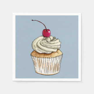 Watercolor Cupcake with Whipped Cream and Cherry Disposable Napkin