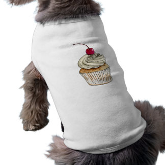 Watercolor Cupcake with Whipped Cream and Cherry Dog Shirt