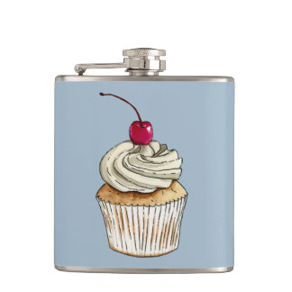 Watercolor Cupcake with Whipped Cream and Cherry Flasks