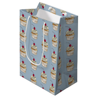 Watercolor Cupcake with Whipped Cream and Cherry Medium Gift Bag