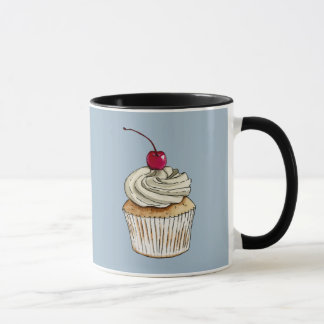 Watercolor Cupcake with Whipped Cream and Cherry Mug