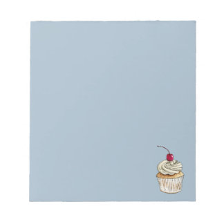 Watercolor Cupcake with Whipped Cream and Cherry Notepad
