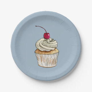 Watercolor Cupcake with Whipped Cream and Cherry Paper Plate
