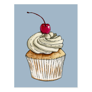 Watercolor Cupcake with Whipped Cream and Cherry Postcard