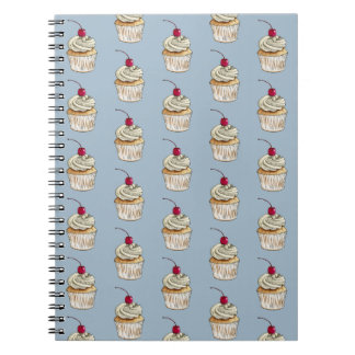Watercolor Cupcake with Whipped Cream and Cherry Spiral Notebooks