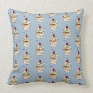 Watercolor Cupcake with Whipped Cream and Cherry Throw Pillow