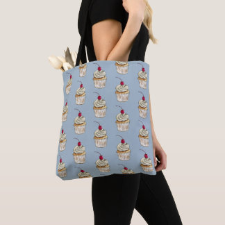 Watercolor Cupcake with Whipped Cream and Cherry Tote Bag
