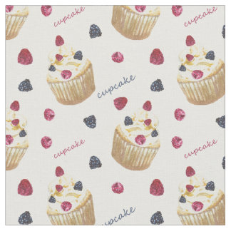 Watercolor cupcakes fabric
