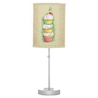 Watercolor cupcakes. Kitchen illustration. Table Lamp