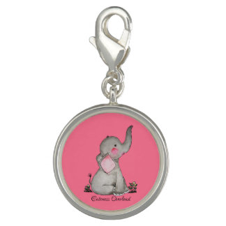 Watercolor Cute Baby Elephant With Blush & Flowers Charm
