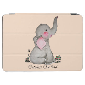 Watercolor Cute Baby Elephant With Blush & Flowers iPad Air Cover