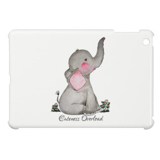 Watercolor Cute Baby Elephant With Blush & Flowers iPad Mini Cases