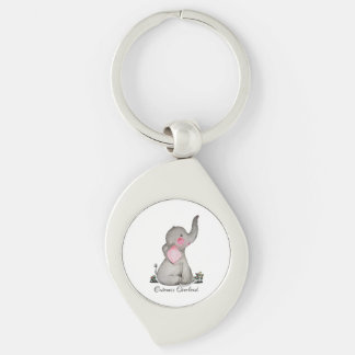 Watercolor Cute Baby Elephant With Blush & Flowers Keychain