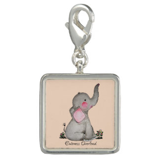 Watercolor Cute Baby Elephant With Blush & Flowers Photo Charm