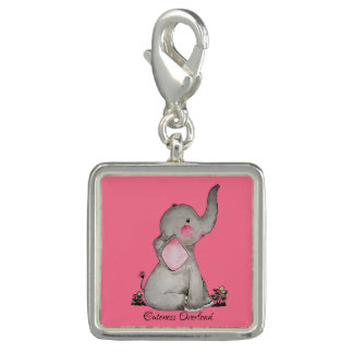Watercolor Cute Baby Elephant With Blush & Flowers Photo Charms