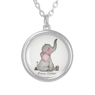 Watercolor Cute Baby Elephant With Blush & Flowers Silver Plated Necklace